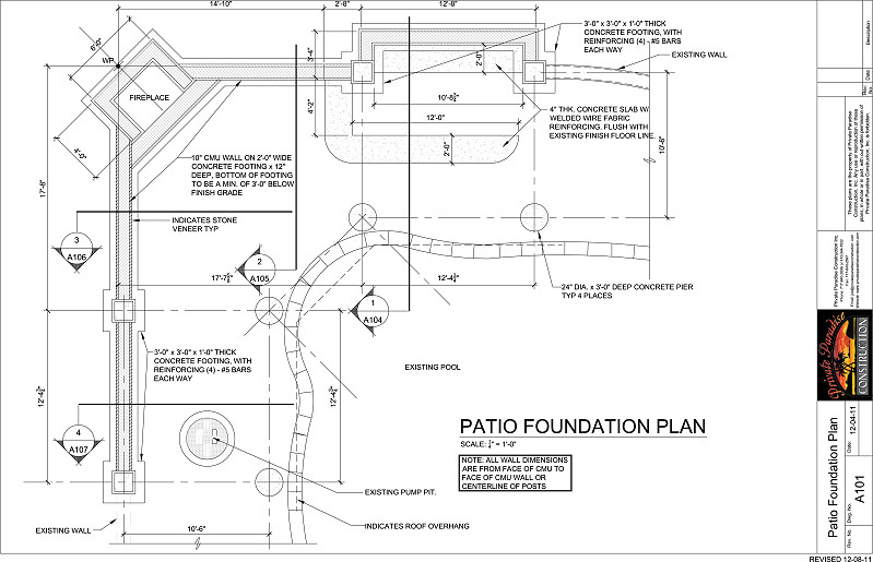 Private paradise construction patios decks outdoor for Foundation plan drawing